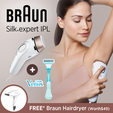Braun Silk-expert IPL BD3001/5001 Permanent hair removal at home for whole body+Gillette Venus razor