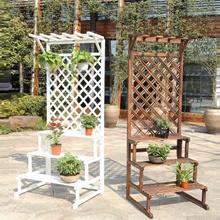 Wooden Flower Stand Plant Pot Rack Gardening Shelf Horticulture Trellis