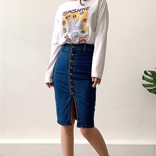 [S$16.90][NemoKorea] [SK1810] High-line holicspan real button denim skirt
