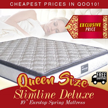 "[Furniture Specialist] QUEEN SIZE Slimline Deluxe 10"" Eurotop Spring Mattress / Have ALL Sizes / Add on Bedframe"