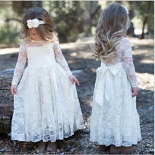 Princess Girls Lace Dress For Wedding Party High Quality Bridesmaid Kids Bow Long sleeve Trailing La