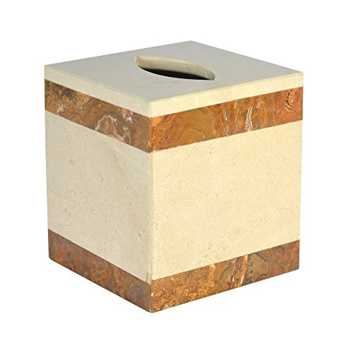 Polished Marble Inverted Tissue Box Cover Desert Sand and Amber Shower and  Bathroom Accessory