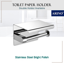 Toilet Paper Roll Holder With Shelf • Stainless Steel 304 Bright Polish • Double Holder Available