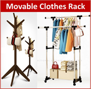 Stainless Steel Clothes Drying Rack Pine Wood Floor Standing for Hat Coat Jacket Hanger