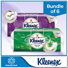 Bundle of 6 [KLEENEX] Ultra Soft Bath Tissue 3PLY - Cottony Clean / Aloe Clean 10 x 200 sheets