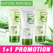 ★ 1+1 Promotion ★ Nature Republic Soothing and Moisture Aloe Vera Cleansing Gel Cream / Cleansing Gel Foam / Foam Cleanser 150 ml