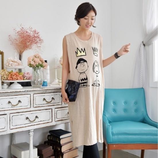 妊婦服・ドット・コム王冠キャラクターナッシー授乳ワンピース 綿ワンピース/ 韓国ファッション