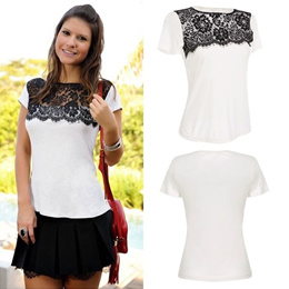f1de51c581b70 SG New Fashion Women T-Shirt Lace Patchwork Crew Neck Short Sleeve Casual  Top White