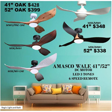 Sales!   REGIS:AMASCO WALE 41 / 52 Ceiling Fan LED 6-SPEED Remote control DC FAN - LED 3-TONES| Fast