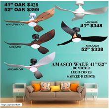 Sales!   REGIS:AMASCO WALE 41 / 52 Ceiling Fan LED 6-SPEED Remote control DC FAN - LED 3-TONES  Fast