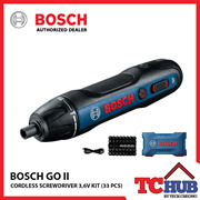 Bosch GO 2 Cordless Screwdriver Kit (33 Piece). E-Clutch Setting Trigger Button w/ Adjustable Torque