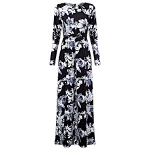 Vintage Round Collar Long Sleeve Floral Print Dress for Women
