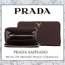 Prada Saffiano Metal Zip Around Wallet (Granato)