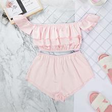 Suphis Cascading Ruffle Sleepwear Satin Women Butterfly Sleeve Midriff Top Sexy Pajamas Set Summer S