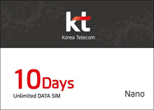 4G LTE Unlimited Data SIM card of in South Korea (10 days) authentic Korea telecom
