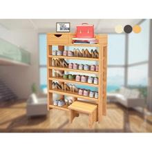 6 Tier Multi layers Wooden Shoe Rack Pine Storage Shoe Cabinet Wooden Shoe Stool - 3 Colors Availabl