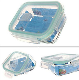 With a breathable hole heat-resistant glass lunch box microwave oven crisper box lunch