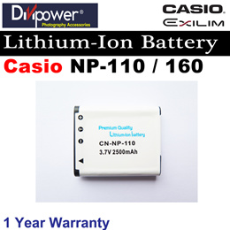 Casio NP-110 NP-160 Lithium-ion Battery for Casio Exilim Camera by Divipower