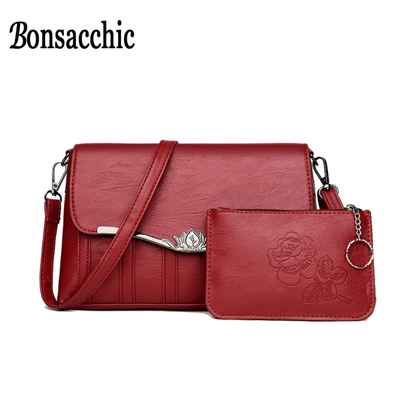2f470341b259 fit to viewer. prev next. sale Bonsacchic Small Women Shoulder Bag Set  Female Clutch Purse Lady s Leather Crossbody Bags for