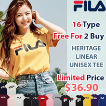 [FILA] 16Type Unisex Linear Logo Short Sleeve T Shirt / 100% Authentic / Free Shipping for 2 Buy