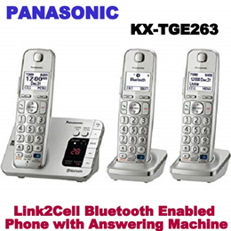 Panasonic KX-TGE263S Link2Cell Bluetooth Enabled Phone with Answering Machine WITH 6 MONTH SHOP WTY