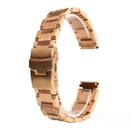 24mm Stainless Steel Double Flip Lock Buckle Watch Band
