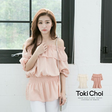 TOKICHOI - Top With Off Shoulder Ruffle-6010696