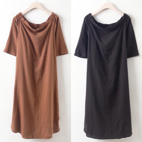 ウィスィモールDN肩バンディングワンピースY708M 綿ワンピース/ 韓国ファッション