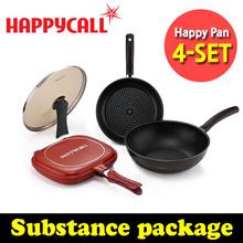 [Happy Call ] Planning Product Set 4-set (Double Sides Pan + Porcelain Pan Set 2ea+ Lid) / Diamond Coating Frying pan  / happycall pan / Made in korea /Grill pan/ Wok / happycall pan / cooking pot