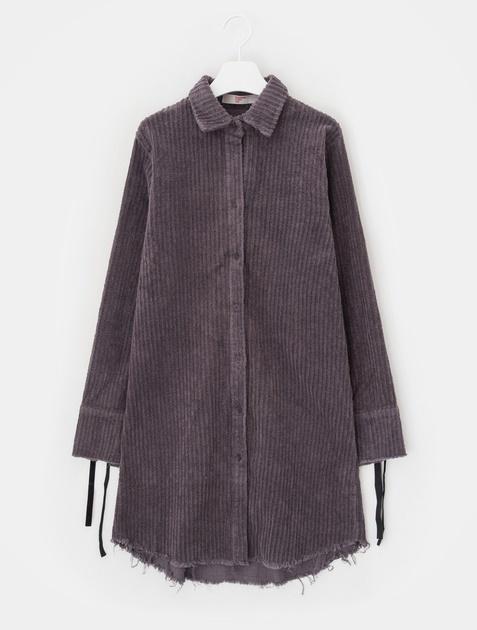 8SECONDS Corduroy Ribbon Tie Shirt Dress - Ash