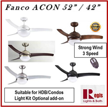 [SALES] Fanco ACON 42/52inches Ceiling Fan  Optional- Philips LED 24W TRI Colour LED PANEL /LED BULB
