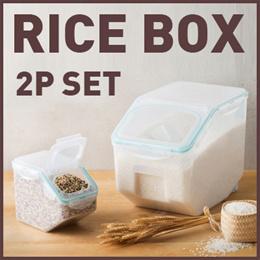 LOCK N LOCK ★Grain Container 2P Set (10kg + 2.5 kg)★Rice Box/Sealed/Storage tank/Transparent/Kitchen