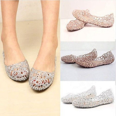 890b106d134cea Womens Crystal Glitter Plastic Jelly Hollowed Flat Sandals Beach Pumps  Shoes WLN1