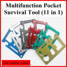 Multifunction Survival Tool 11 in 1 Camping Fishing Multi Function Purpose Wallet Pocket Kit Outdoor