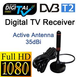 100% Copper Digital TV Antenna / 35dBi Active Indoor Antenna for DVB T2 Box / DVB-T2 TV Box