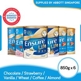 [Bundle of 6] Abbott Ensure Life Chocolate/Vanilla/Strawberry/Wheat/Almond 850g