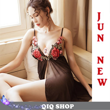 0213555ed [QIQI SHOP]Christmas gift Sexy Lingerie Night pajama dress Lace Sleepwear