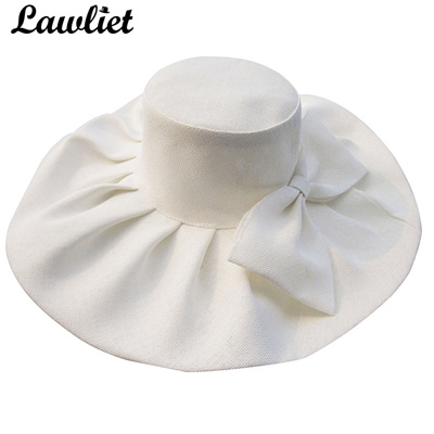 5d25ea8635a factory Huge Linen Sun Hat Women Kentucky Derby Wide Brim Sun Hat Wedding  Church Beach Hats