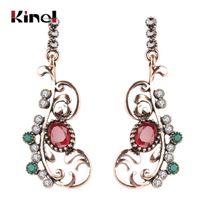 Kinel Turkish Jewelry Crystal Flower Earrings For Women Antique Gold Color  Vintage Wedding Jewelry