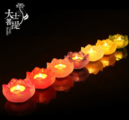 Buddhist supplies Taiwan Lotus candle holder-oil lamps of glass block lights situated for home dec