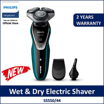 Shaver series 5000 Wet and dry electric shaver with Nose Trimmer S5550/44