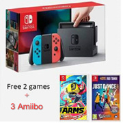(Only RM1,549 with RM100 coupon) Nintendo Switch Grey/Blue n Red Joycon (FREE 2 Games Just Dance n ARMS + 3 Amiibo!)