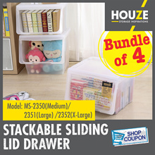 ONLINE EXCLUSIVE ♦ Bundle Of 4 ♦ Stackable Front Sliding Lid Drawer ♦ 3 Sizes M/L/XL ♦ Front Opening