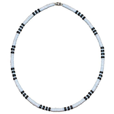 b2fe9f1436a82d Native Treasure - 5mm White Clam Heishe Puka Shell Necklace with Black Coco  Beads