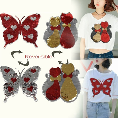 Fashion Clothes Sew On Cat Butterfly Sequins Patch Paillette Applique  Embroidered