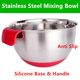 ★IMP HOUSE★baking essential Premium Quality Stainless Steel Mixing Bowl with silicone handle and bas