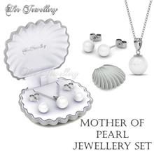 Swarovski® Crystals - Mother of Pearl Set  (18K White Gold Plated) Her Jewellery
