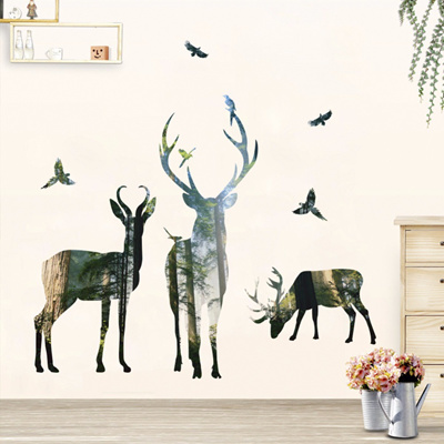 qoo10 - 3d deer silhouette wall stickers for kids room home decor