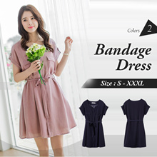 OB DESIGN ★ OBDESIGN ★ ORANGEBEAR ★ BANDAGE SOLID DOUBLE POCKET V-NECK DRESS ★ 2 COLORS ★ PLUS SIZE