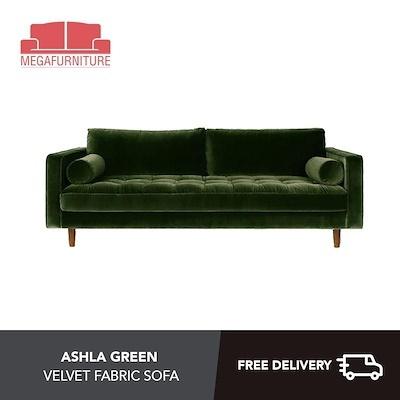 Qoo10 Ashla Green Velvet Fabric Sofa